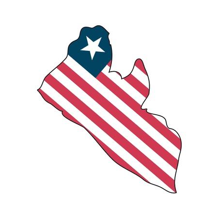 map flag Liberia Vector