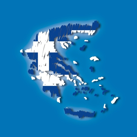 brushwork: map flag Greece