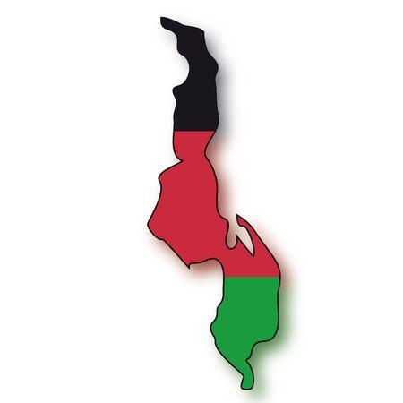 map flag Malawi Vector
