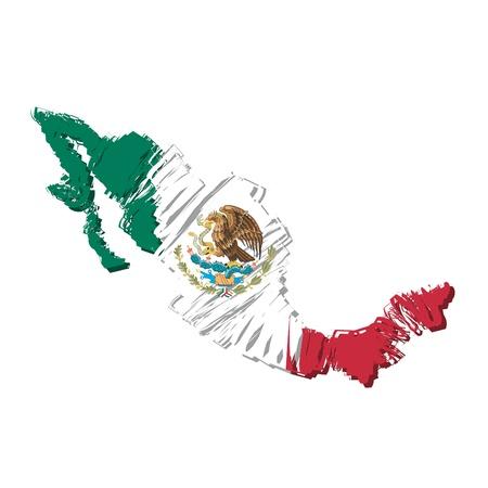 mexican flag: mappa bandiera Messico Vettoriali
