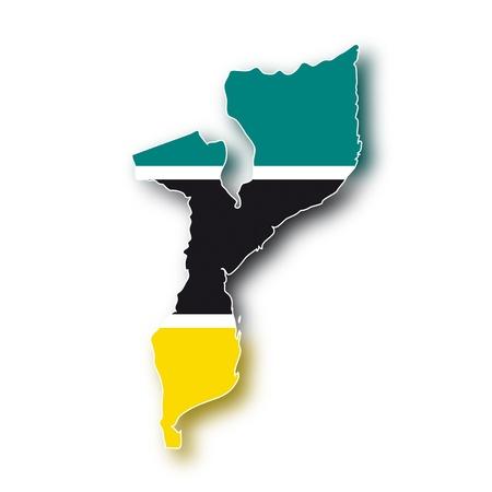 mozambique: map flag Mozambique