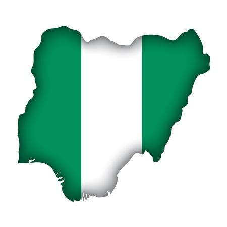 nigeria: map flag Nigeria