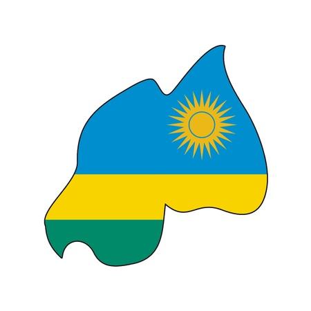 rwanda: map flag Rwanda