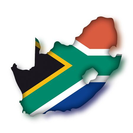 south african: map flag South Africa