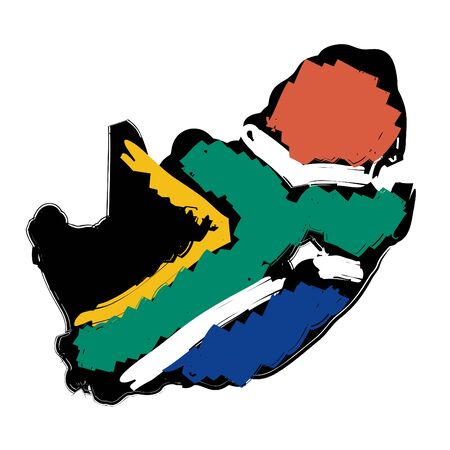 south african flag: map flag South Africa
