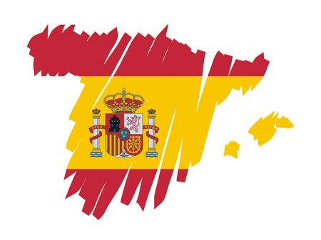 flag of spain: map flag Spain Illustration