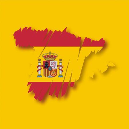 spanish flag: map flag Spain Illustration