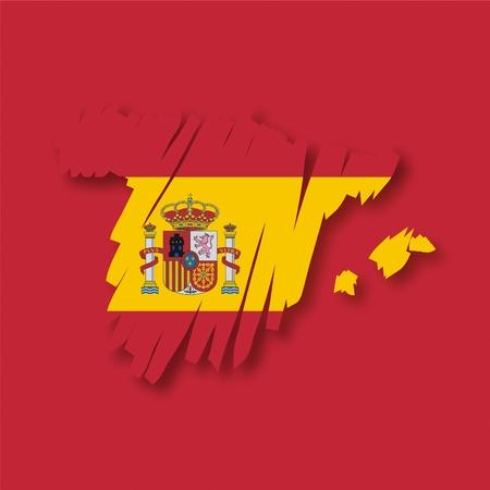 brushwork: map flag Spain Illustration