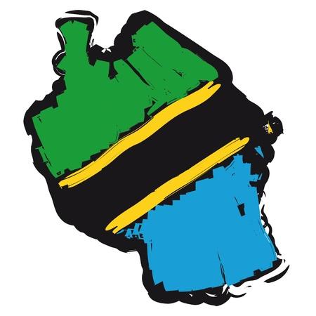 tanzania: map flag Tanzania Illustration