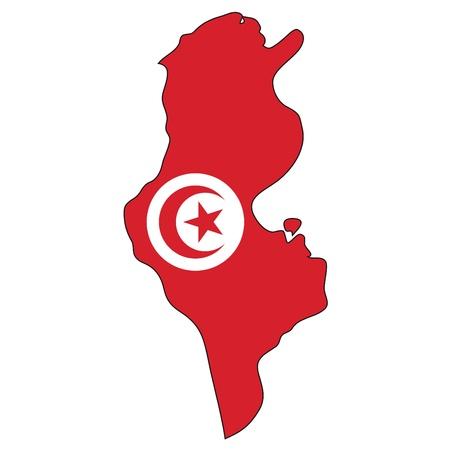 географический: Карта флагом Туниса