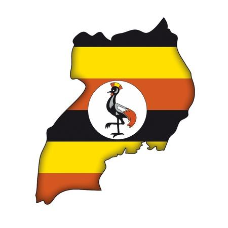 map flag Uganda Vector