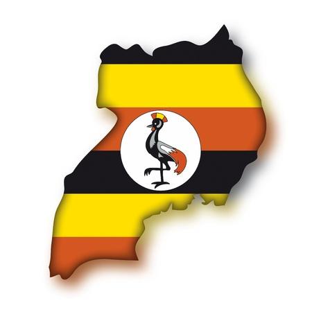 Mapa de la bandera de Uganda
