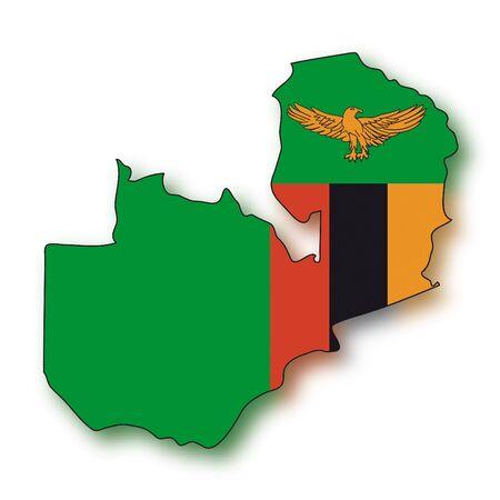 zambian flag: map flag Zambia