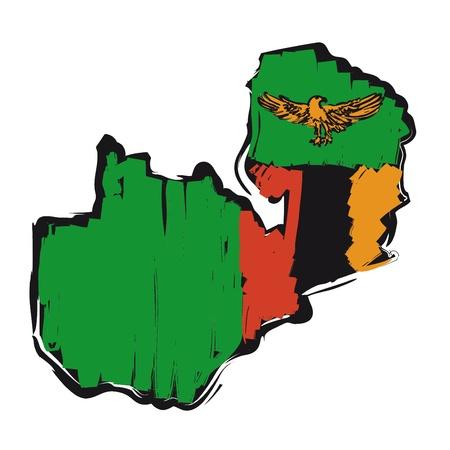 zambia: map flag Zambia