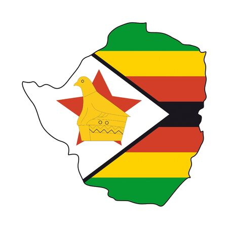 zimbabwe: Mapa de la bandera de Zimbabwe