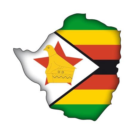 simbabwe: Karte Flagge Simbabwe Illustration