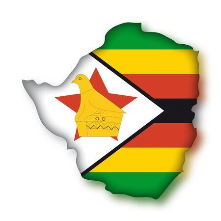 zimbabwe: Mapa bandera Zimbabue
