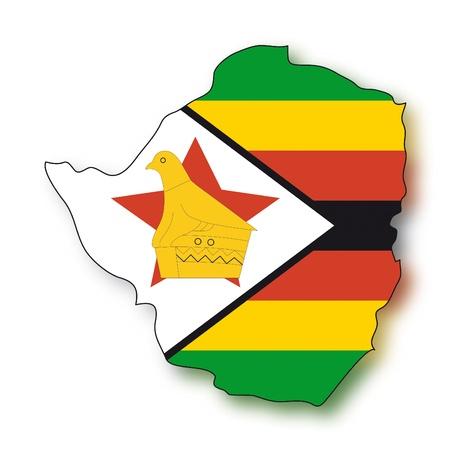 zimbabwe: map flag Zimbabwe