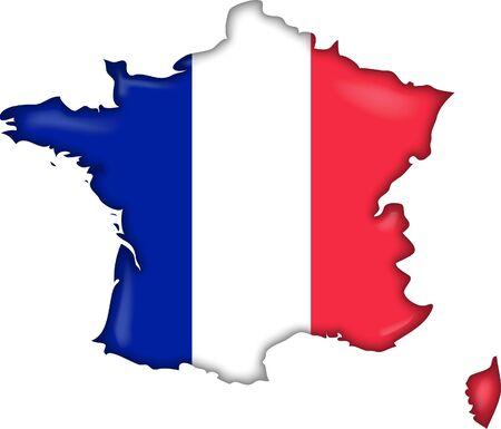 bandera francia: Mapa de la bandera de Francia Foto de archivo