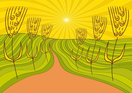 landscape and wheat Vector