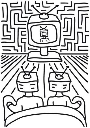 ver television: gente ve la televisi�n Vectores
