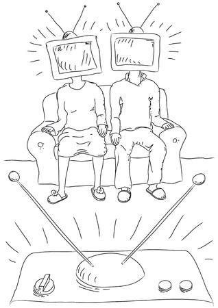 manipulate: people watch  TV