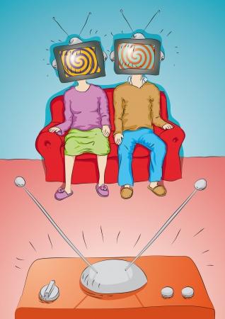 gente ver TV Ilustración de vector
