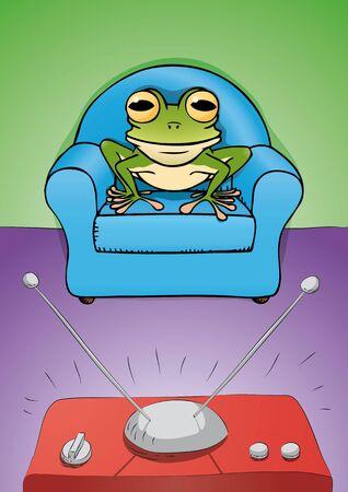 red couch: rana guardare la TV