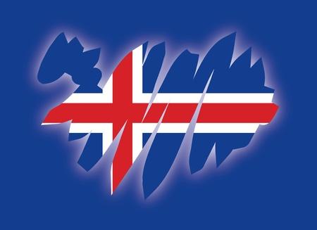 map flag Iceland Vector