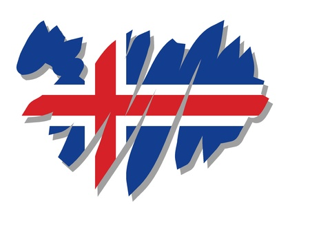 map flag Iceland Vector