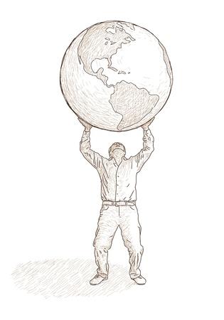 man who raises the globe Stock Vector - 10681194