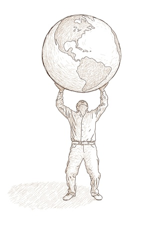 burden: man who raises the globe