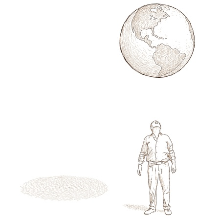 observe: man looking at the globe Illustration