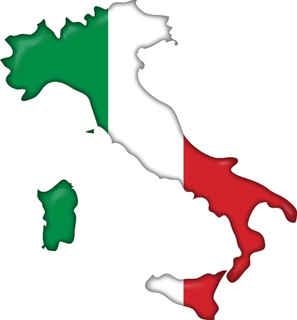 italy map: flag and map Italy
