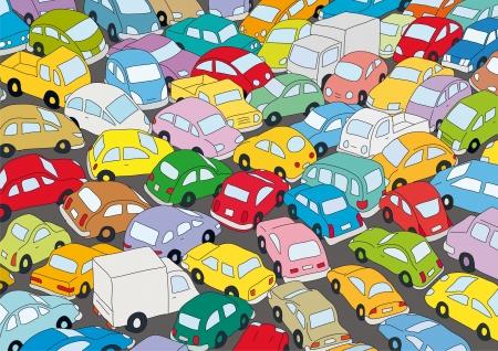 Atasco de tráfico de coches Ilustración de vector