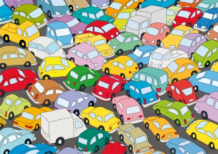 Car traffic jam Vector