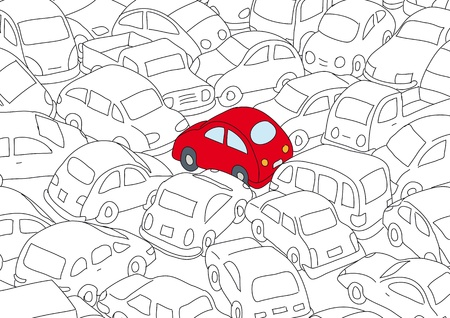 environment damage: Car traffic jam