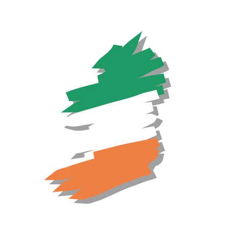 ireland map: map flag Ireland