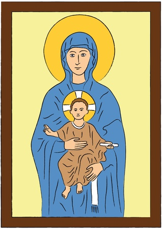 madonna: Mary and Jesus Illustration