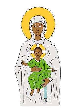 saint mary: Mary and Jesus Illustration