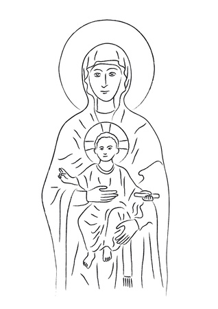 Mary and Jesus Illustration