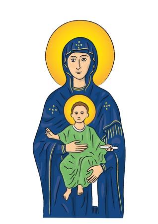 Maria en Jezus Vector Illustratie