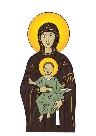 son of god: Mary and Jesus Illustration
