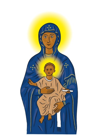 Mary and Jesus Vector