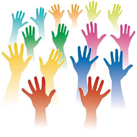manos levantadas: muchas manos