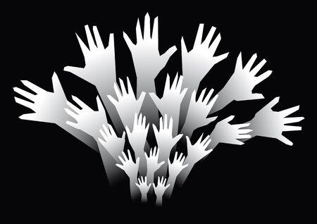 arm raised: many hands