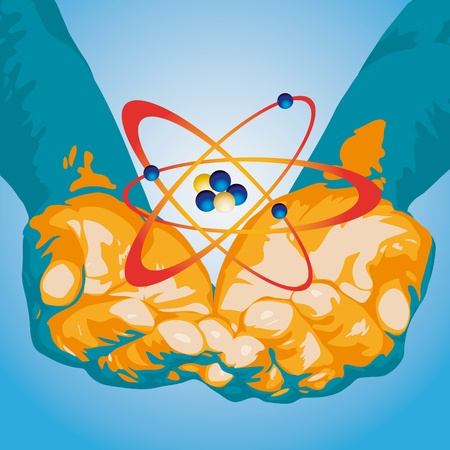 Atom and hands Vector