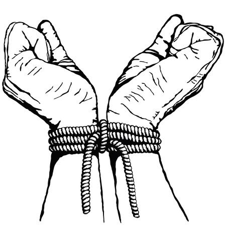 gefangener: die Hände gebunden Illustration