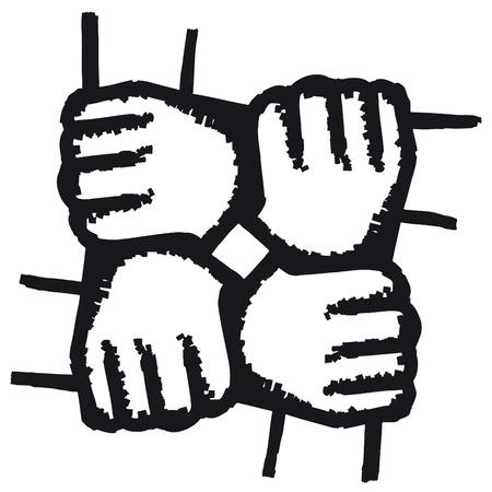 manos unidas: Se unió a manos
