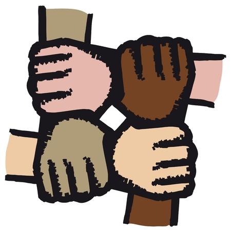 racismo: Se unió a manos
